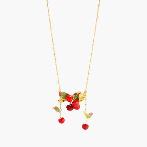 Cherries And Leave Statement Necklace | ANCE3011