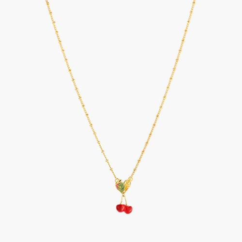 Cherries And Leaves Pendant Necklace | ANCE3021