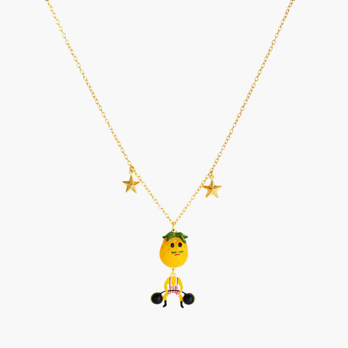 Fruit Circus Pineapple Weight Lifter Pendant Necklace | ANFC3061