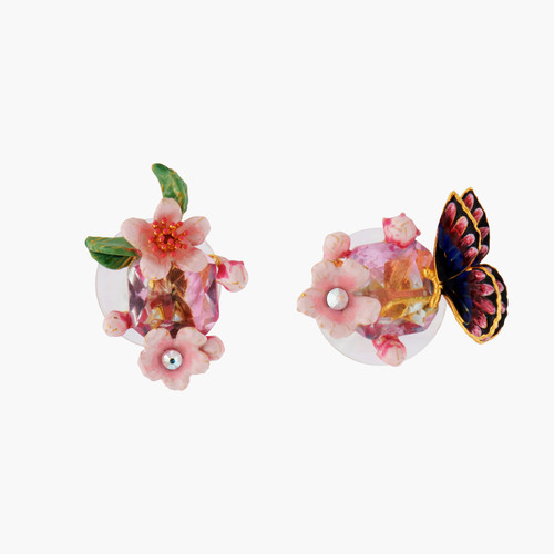 Cherry Blossom And Japanese Emperor Butterfly Earrings | ANHA1011