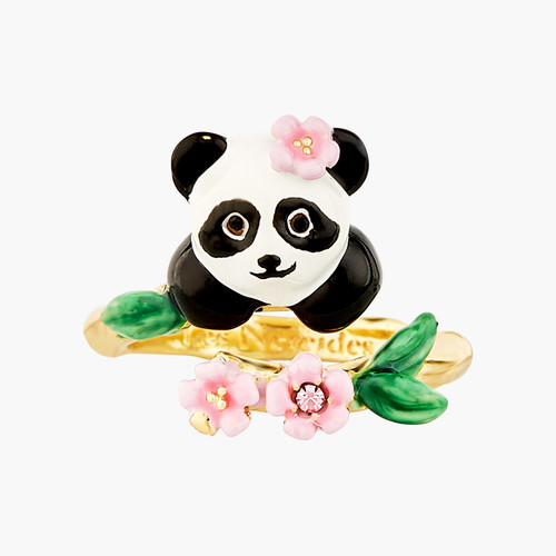 Panda And Flowers Adjustable  Rings | ANFL6011