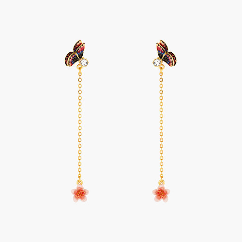 Japanese Emperor Butterfly And Cherry Blossom Dangling Earrings | ANHA1111