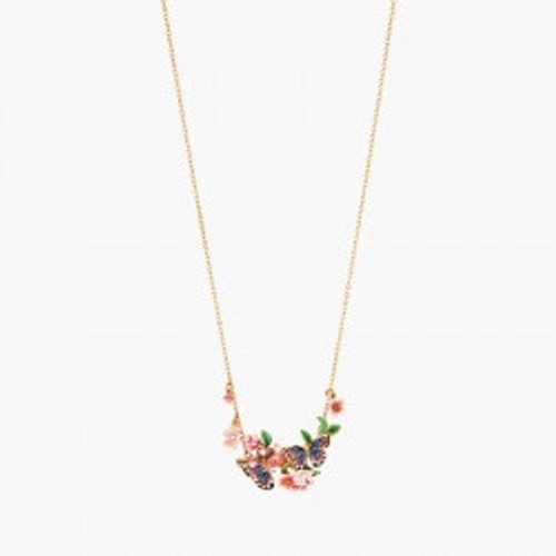 Japanese Emperor Butterfly And Cherry Blossom Double Collar  Necklace | ANHA3011