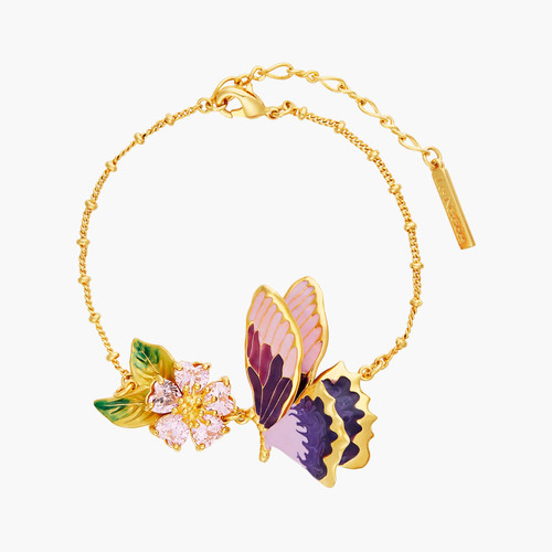 Terinos Butterfly And Heart Flower Petals Thin Bracelet | ANHA2071