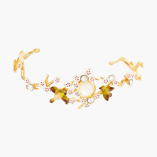 Japanese Cherry Blossom And Branches Bangle Bracelet | ANHA204/11