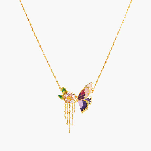 Terinos Butterfly And Flower Petals Thin Necklace | ANHA3071