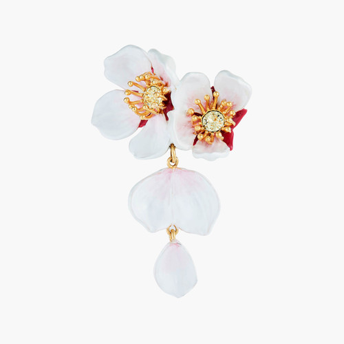 White Cherry Blossom And Petals Brooch Accessories | ANHA5021