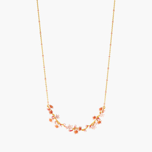 Pink Japanese Cherry Blossom And Golden Branch Statement Necklace | ANHA3031