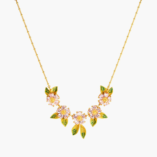 Foliage And Heart Flower Petals Statement Necklace | ANHA3061
