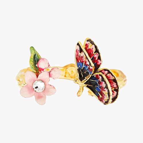 Japanese Emperor Butterfly And Cherry Blossom Adjustable  Rings | ANHA6011