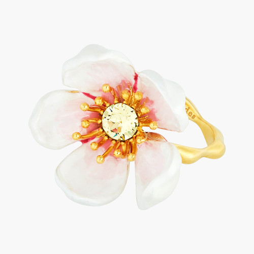 Japanese White Cherry Blossom And Petals Adjustable  Rings | ANHA6061