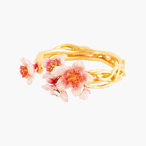Pink Japanese Cherry Blossom And Golden Branch Adjustable Rings | ANHA6021