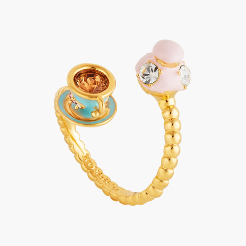 You And Me Religieuse And Tea Cup Adjustable Rings | ANIP6011
