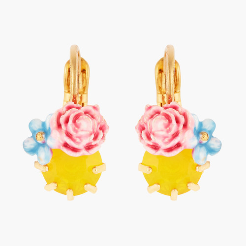 PEONY AND FACETED  CRYSTAL  EARRINGS | ANLA1021