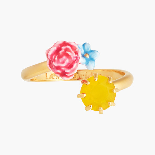 PEONY, CAMPANULA AND FACETED GLASS ADJUSTABLE RING | ANLA6011