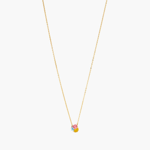 CAMPANULA AND PEONIES ON FACETED CRYSTAL THIN NECKLACE | ANLA3031