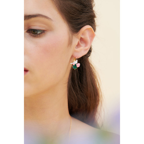Dove And Peony On Faceted Crystal Earrings | ANLA1031