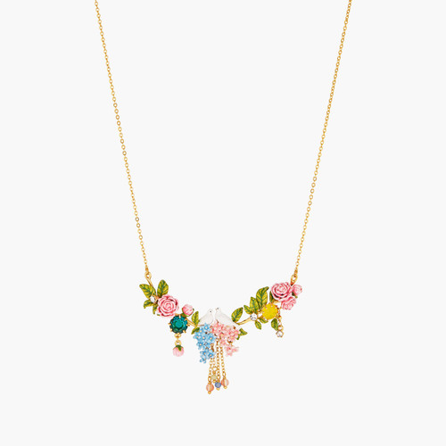 Dove On A Bed Of Peonies And Campanulas Statement Necklace | ANLA3011