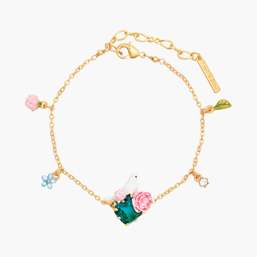 DOVE AND PEONIES ON FACETED GLASS STONE THIN BRACELET | ANLA2011