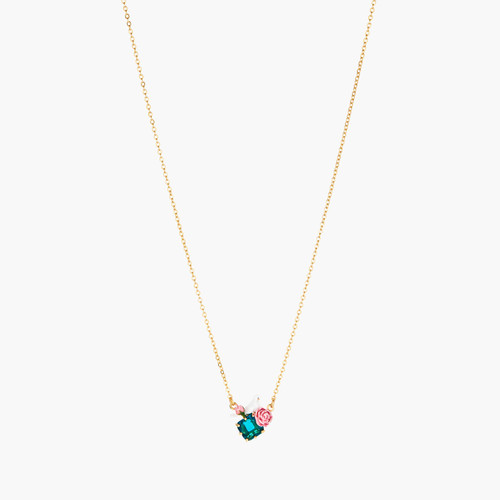 DOVE AND PEONIES ON FACETED CRYSTAL THIN NECKLACE | ANLA3021