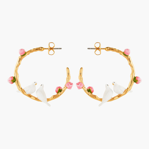 Dove Couple And Small Peonies Hoop Earrings | ANLA1041