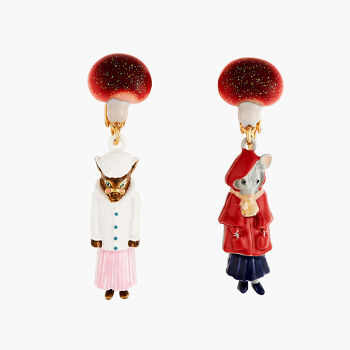 Little Mouse Little Red Riding Hood And Big Bad Wolf Earrings | ANNA101C/1