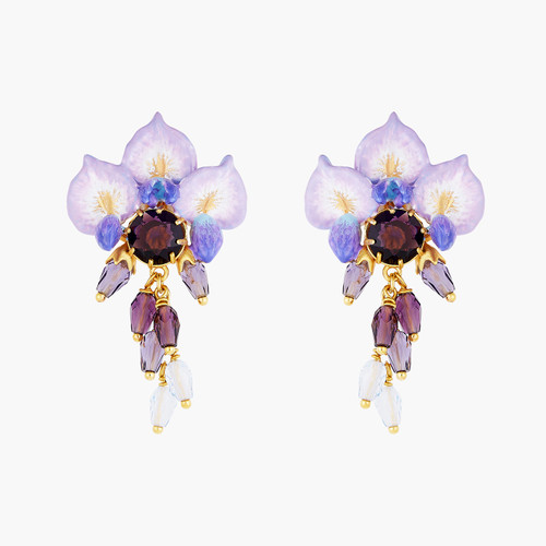 Wisteria Flower, Pearl And Faceted Crystal Earrings | ANOF101C/1