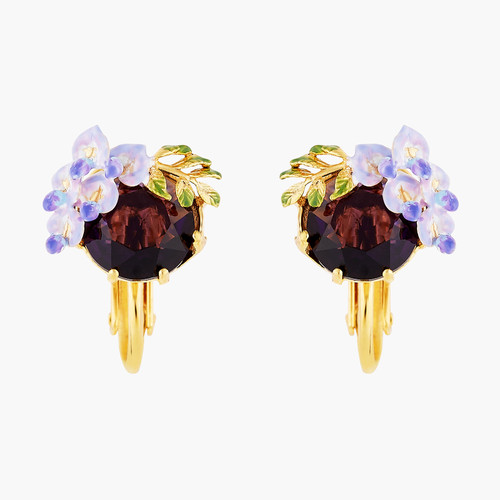 Small Wisteria Flower And Faceted Crystal Earrings | ANOF103C/1