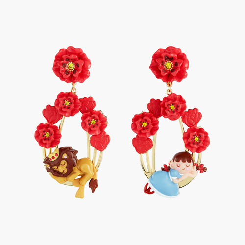 The Wizard Of Oz Dorothy And The Cowardly Lion Asymmetrical Earrings | ANOZ108/1