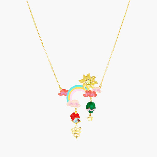 Theé Wizard Of Oz Clouds, Sun, Rainbow, House And Hot Air Balloon Pendant Necklace | ANOZ3041