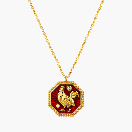 Rooster Zodiac Sign Pendant  Necklace | ANZA3101