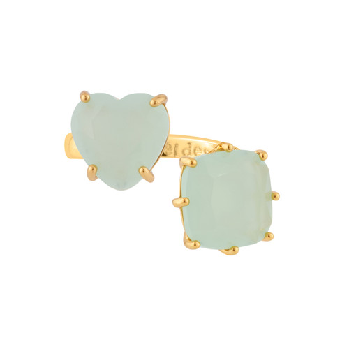 Green Heart And Square Stones La Diamantine Adjustable You And I Rings | XLD618