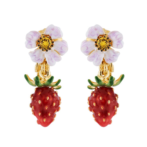 Small Strawberry And White Flower Earrings | AHPO1021
