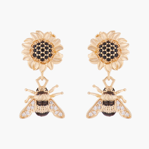 Sunflower And Bumblebee Earrings | ALNS1031