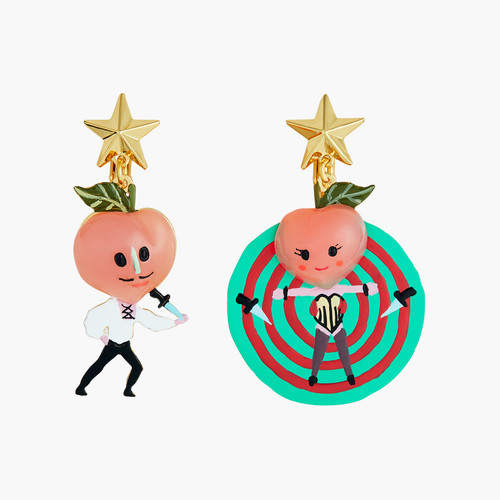 Fruit Circus Peach, Knife And Target Earrings | ANFC1041