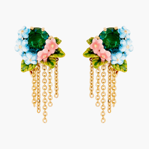 Faceted Crystal, Peony And Campanula Flowers Earrings | ANLA101/1