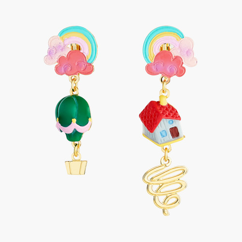 The Wizard Of Oz Rainbow House And Hot Air Balloon Earrings | ANOZ104/1