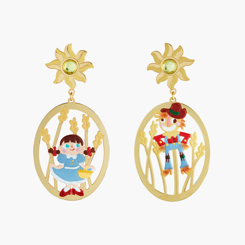 The Wizard Of Oz Dorothy And The Scarecrow Asymmetrical Earrings | ANOZ106/1