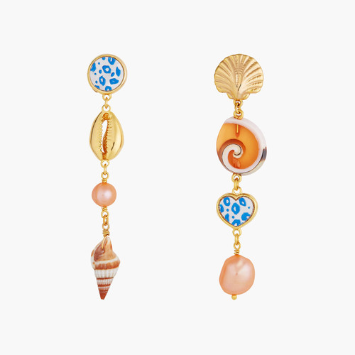 Pearls, mother of pearl and seashells pendant post earrings | AOGL1091