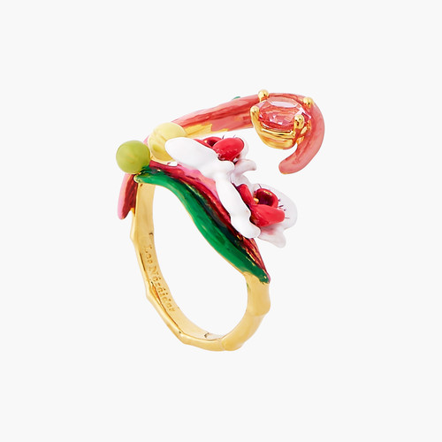 BUTTERFLY ORCHID AND PINK STONE ADJUSTABLE RING | AOOC6011