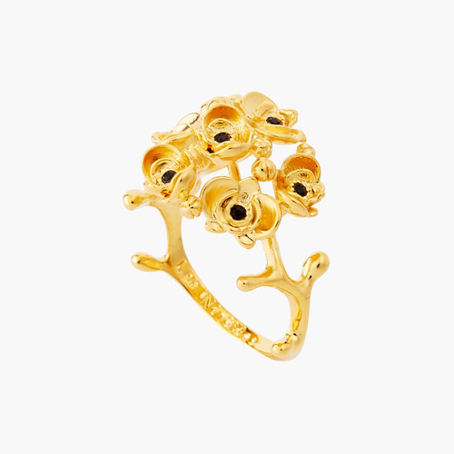FLAMBOYANT  OCHIDS AND CUT CRYSTAL  HREART COCKTAIL RING | AOOC602/1