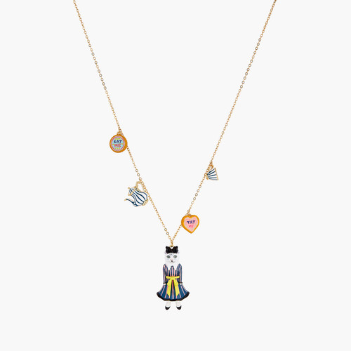 Alice in Wonderland Biscuits, Cup and Cat pendant necklace | AONA3011