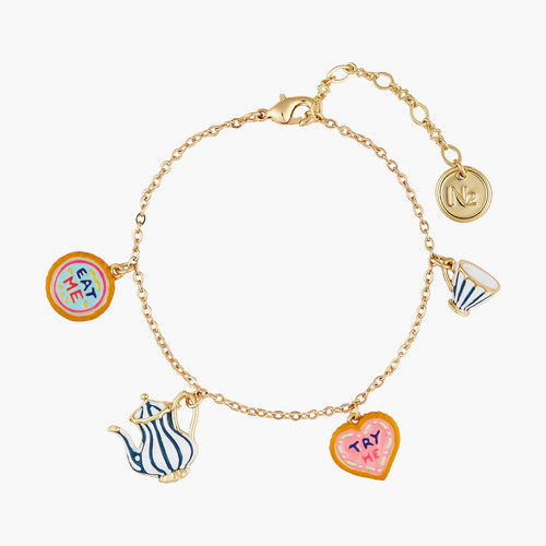 Alice in Wonderland Biscuits, Cup and Tea Pot thin bracelet | AONA2031