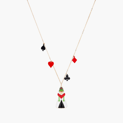 Alice in Wonderland Spade, Club, Diamond, Heart and Toad Red Queen pendant necklace | AONA3021