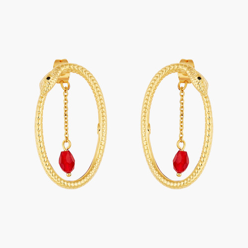 Python and Red Cut Crystal hoop earrings | AOLA1071