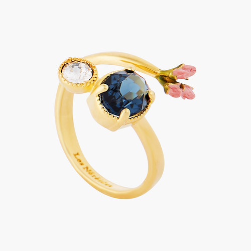 Rosebuds and Faceted Glass adjustable ring | AOLA6011