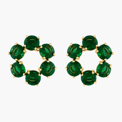 Emerald Green 6 stones Diamantine clip-on earrings | AOLD1421