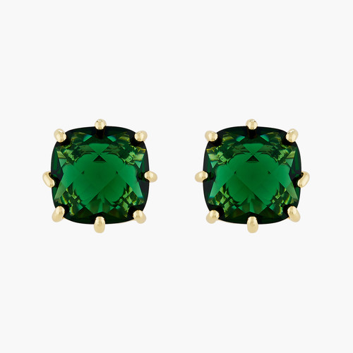 Square Emerald Green Stone Diamantine clip-on earrings | AOLD1011