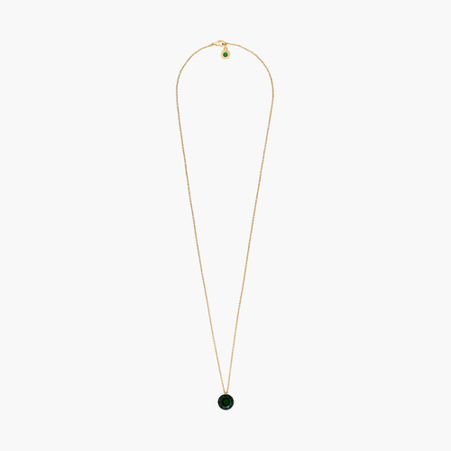 Emerald Green Round Stone Diamantine long necklace | AOLD3331