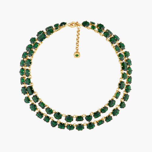 Emerald Green Two Row Diamantine Luxurious necklace | AOLD3551